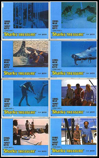 SHARKS' TREASURE original 1975 lobby card set SCUBA DIVING 11x14 movie posters