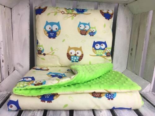 Cotton /& Plush Cuddle 75X100cm Baby Bedding Set Cot Reversible Pillow Blanket