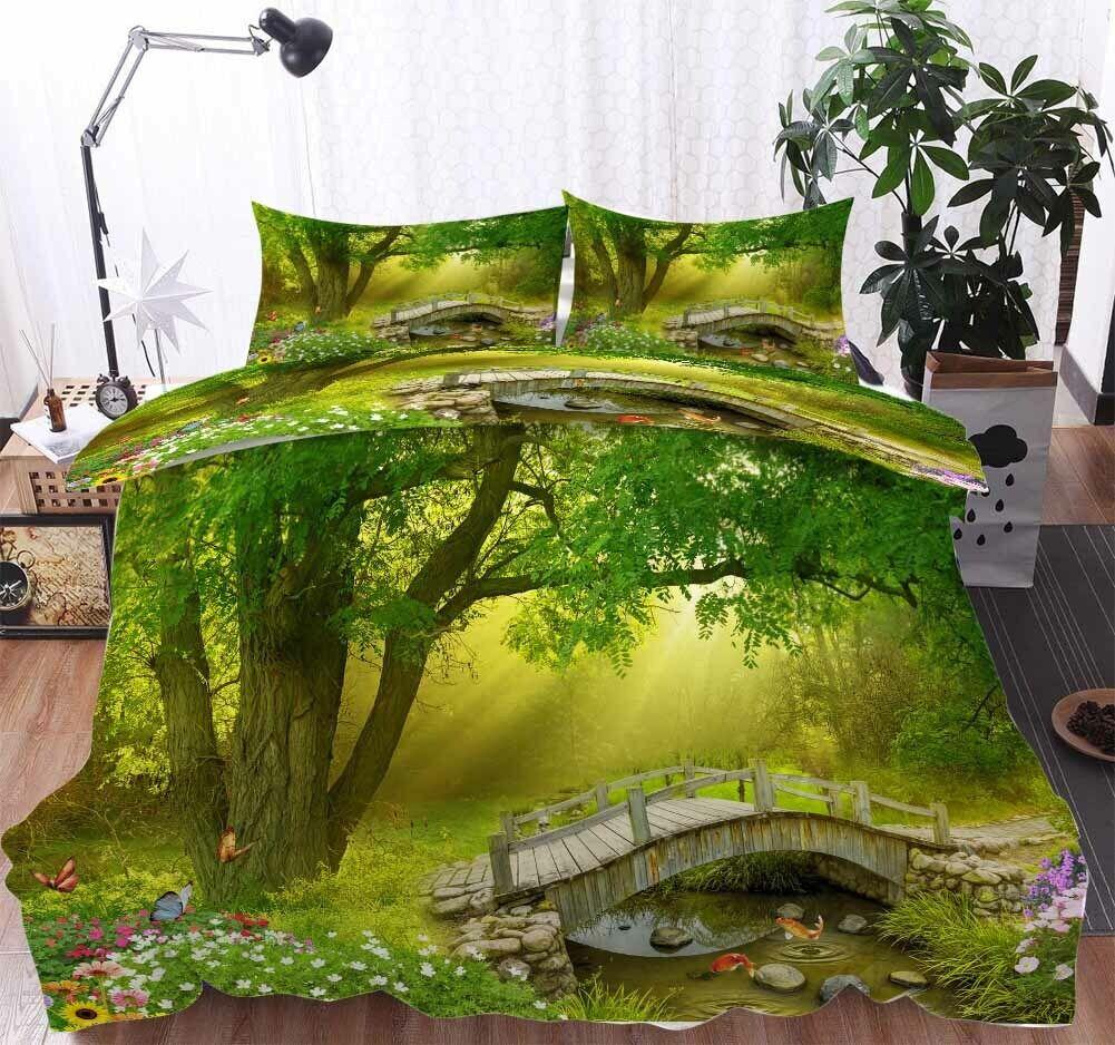 Bridge Fish Tree 3D Druckening Duvet Quilt Will Startseites Pillow Case Bettding Sets
