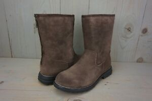 7447ec9db97 Details about UGG LANGLEY CHOCOLATE BROWN SUEDE SHEEPSKIN ZIP BACK BOOTS US  10 NIB