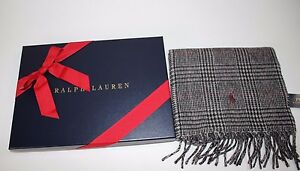 9995856e030e Details about NWT RALPH LAUREN 71x10 Men s Black Glen Plaid PONY Wool Blend Reversible  Scarf