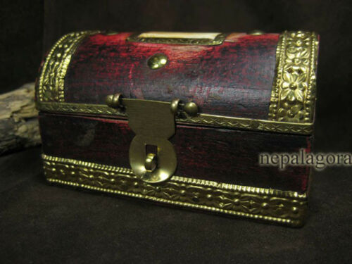 B42 Vintage Trinket Hinged Ethnic Jewelry Wood Bone Box Brass Tribal TIBETAN