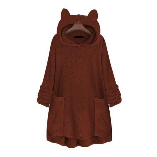 Winter Damen Fleece Hoodies Sweatshirt Teddy Kapuzenpullover Warm Pulli Jumper