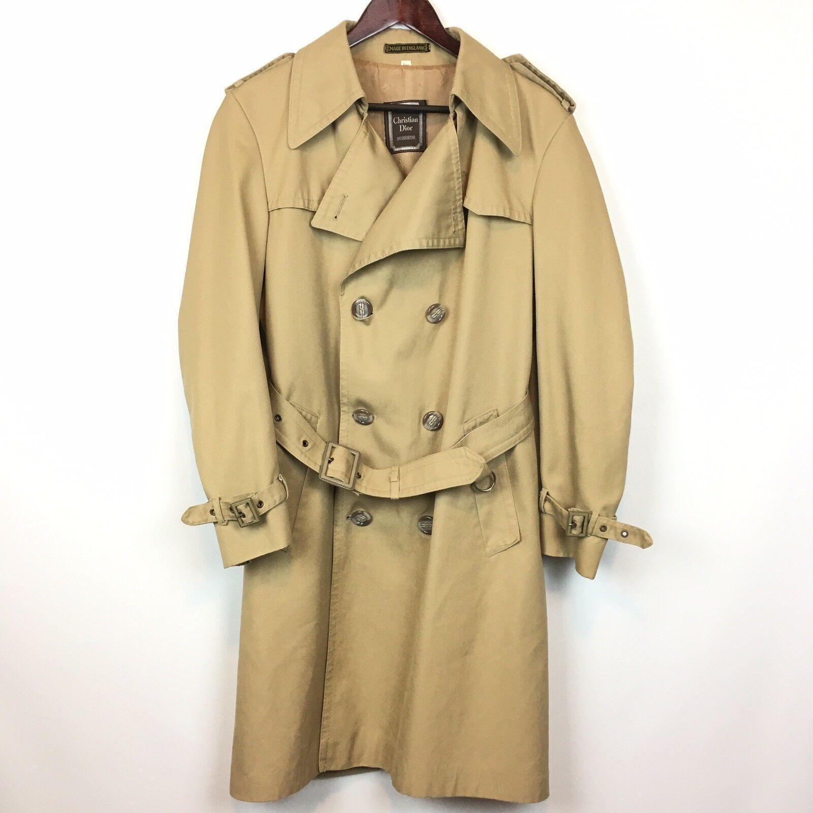 Christian Dior Monsieur Mens Brown Trenchcoat Rain   Winter Long Coat Size S A19