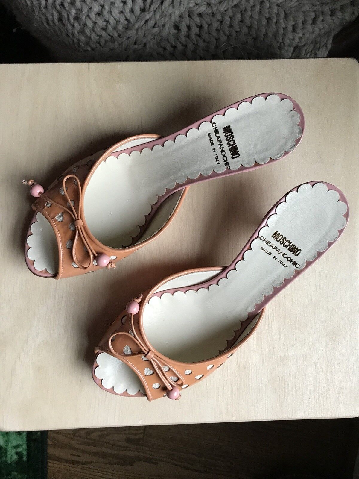 Moschino Cheap And Chic Coral And Pink Patent Heart Heels Size 35.5