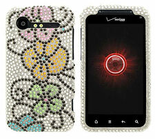 For HTC Droid Incredible 2 Crystal Diamond Bling Hard Case Cover Silver Flower
