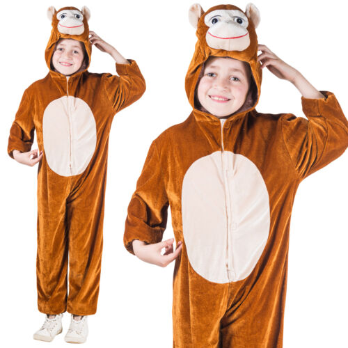 Le Ragazze /& Ragazzi Costume Da Scimmia Giornata Mondiale del Libro Settimana Abito Vestito Tuta