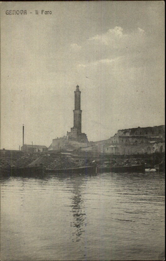 Genova Italy Lighthouse c1910 Postcard