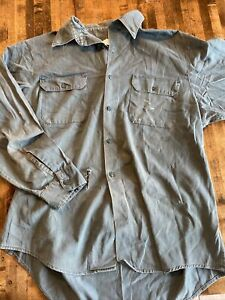 40s Sears ARMY TWILL ausgewaschenes Baumwolle Arbeitshemd