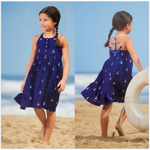 Rationnel New Blue Anchor Print Filles Robe Enfants Vêtements Sans Manches Robe De Plage-afficher Le Titre D'origine Facile à RéParer