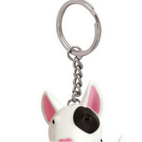 Adorable Cute Dog Puppy Husky Terrier Key Chain Ring Toy Figurine With Colla/_GK