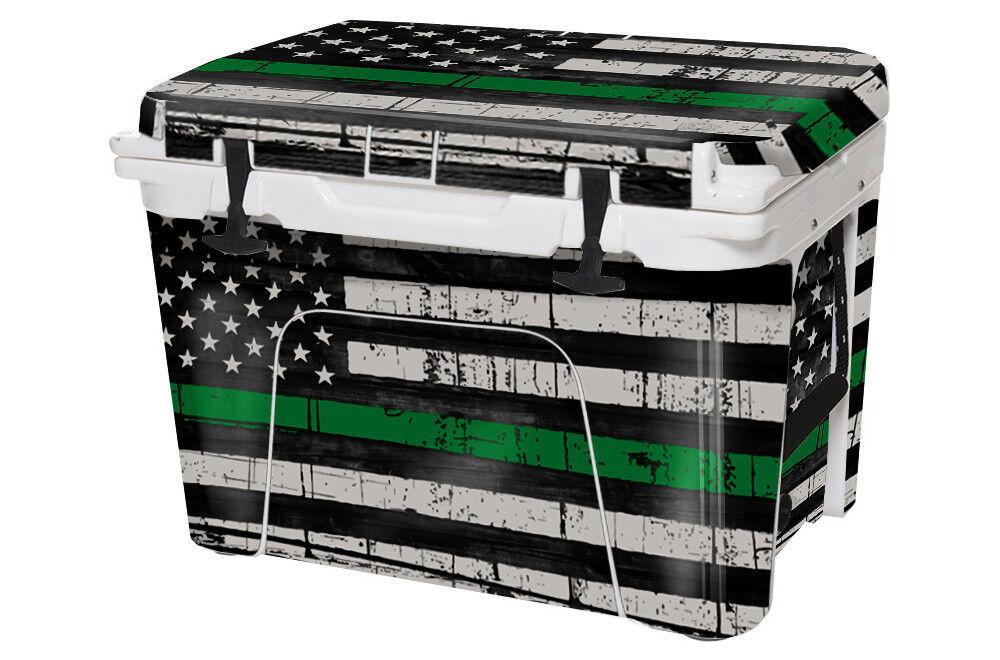 Usatuff REFROIDISSEUR Autocollant Wrap Convient Yeti Tundra 105 QT Full USA ligne verte Drapeau
