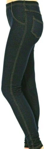 Da Donna Look Denim Leggings elastico Jeggings attillati taglia 8-26