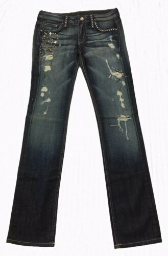 A7 Women/'s Denim Embellished Swarovski  Distressed Skinny Stretch Jeans