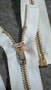 1-ZIPPER-USA-Rare-NOS-Vtg-034-CONMAR-034-5-Metal-BRASS-22-034-Separating-NATURAL-COTTON