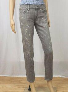Ralph Lauren POLO Slim Astor Boyfriend Paint Splatter Grey Jeans~NWT