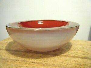 """Vtg 1960 Modern Murano Archimede Art Glass Opaline Cranberry 6"""" Centerpiece Bowl"""