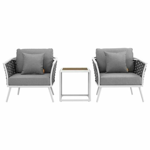 Modway Stance 3 Piece Patio Conversation Set in White and Gray