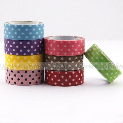 1X New Japanese 15mm Wide Washi Tape Dot Print DIY Sticker Decorative Craft Roll
