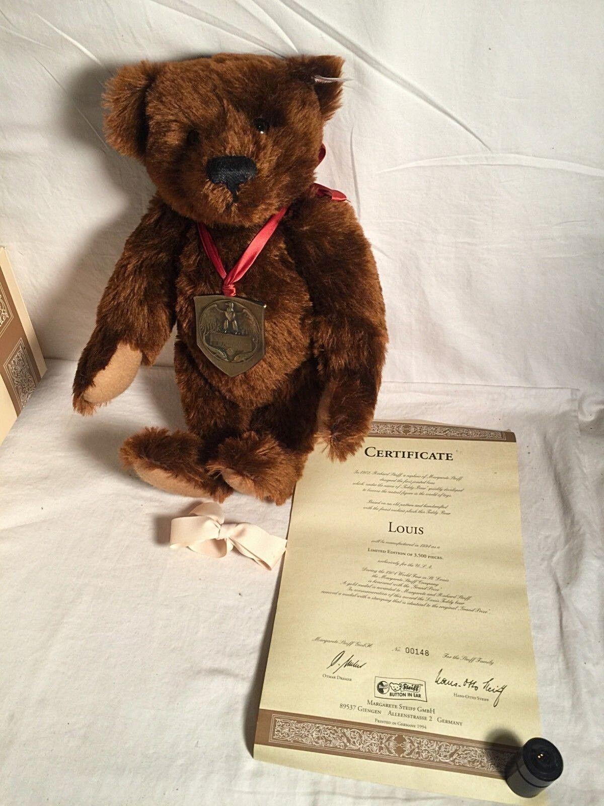 1994 Steiff LOUIS Teddy Bear 44 + COA Limited US Edition LOUISIANA Purchase EXPO