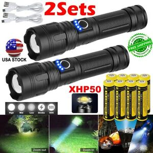 1/2x 990000LM P50 LED Flashlights Rechargeable Zoom XHP50 Torch Battery Chargers