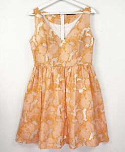 MARCS Women's Size 10 Orange Sleeveless V-Neck Knee Length Fit Flare Party Dress