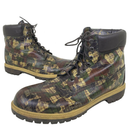 Vintage TIMBERLAND Boot Grid Camo RARE Men's Size
