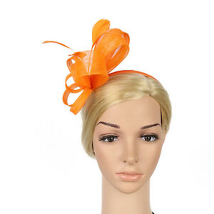 a1030e8c004541 Image is loading Wedding-Fascinator-Hat-Women-Flower-Hair-Band-Cocktail-