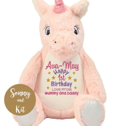 Any Age and Name Personalised First Birthday Unicorn Teddy Embroidered Toy