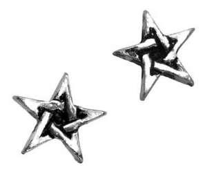 Pentacle-Pentagram-Earrings-Pagan-Wiccan-Five-Pointed-Star-Stud-Jewellery