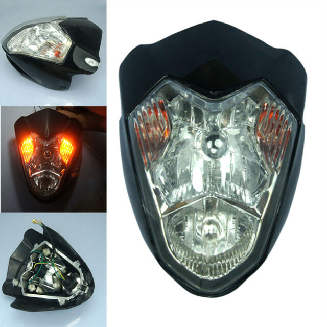 Universal Head Lamp Black Street Fighter Headlight Fairing Motorcycle