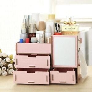 Wood Cosmetic Organizer Makeup Diy Jewellery Drawers Box Storage Display Ebay
