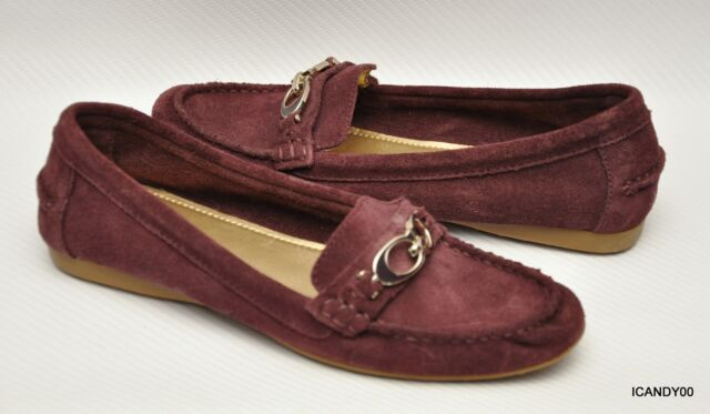 469df075924 New Coach FORTUNATA Suede Classic Driver Moc Loafer Flat Shoe ~Burgundy  7