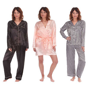 cc7f678806 Ladies Satin Silk Pyjama Set Silky Lounge Pajamas Dressing Gown Robe ...