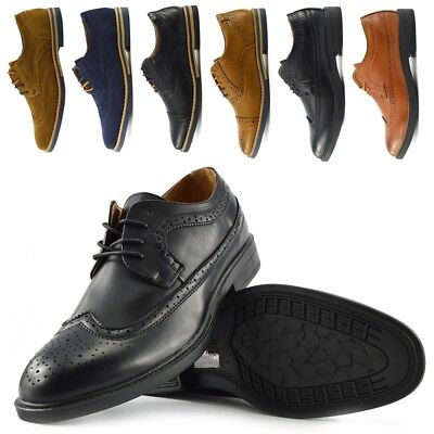 Mens Faux Leather Casual Formal Office Smart Work Lace Up Oxford Brogue Shoes