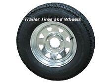 """*2* 205/75D14 LRC ET Bias Trailer Tires 14"""" 5 Lug Galvanized Spoke Wheels F78-14"""