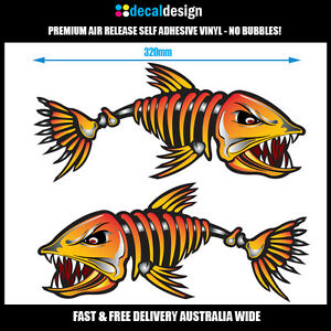 Bad Ass Skeleton Fish Boat Stickers Cm Mirrord Pair Fishing - Decals for boats australia