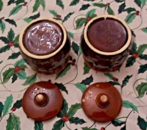 2 Vintage Hull Pottery Oven Proof USA Brown Drip Individual Bean Pots