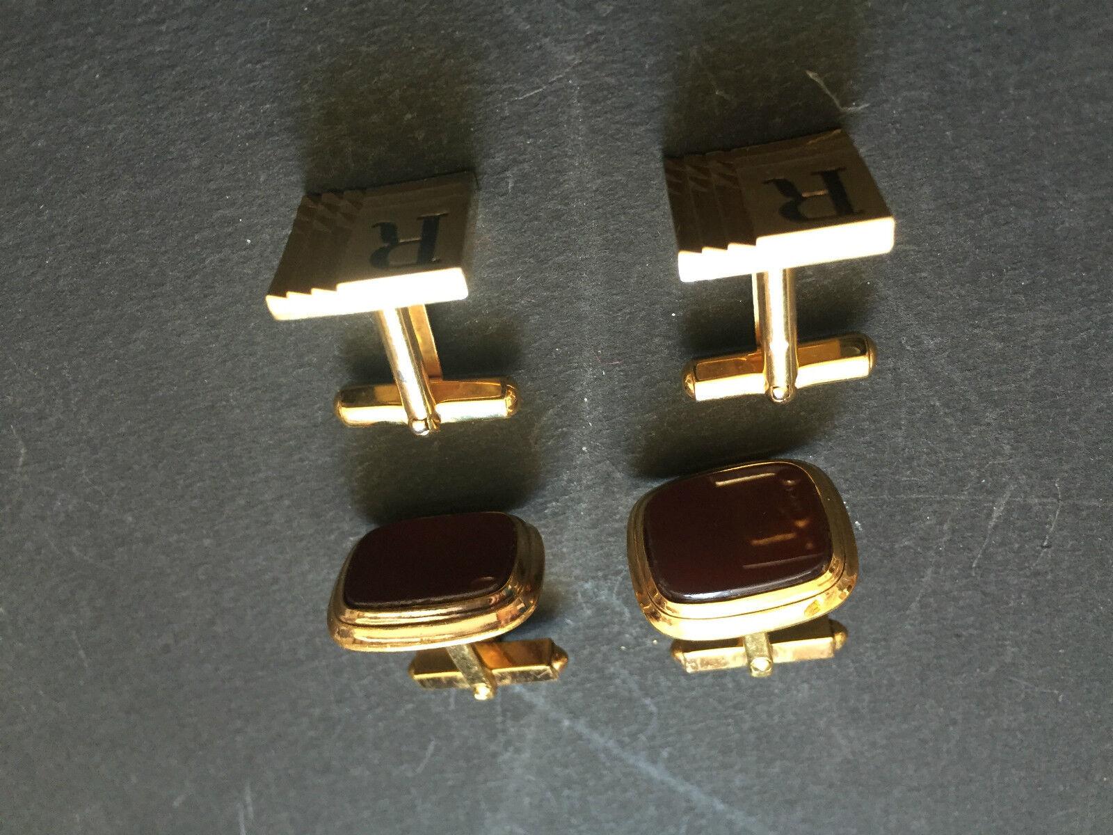 2 paires Beaux boutons boutons boutons de manchette métal doré et plaqué or cufflinks 19909c