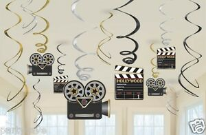 12-x-Film-Hollywood-Awards-Clap-Theme-Fete-Suspendu-Tourbillons-Decoration