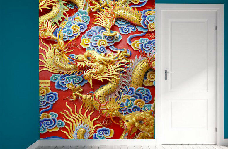 3D Wolke golden Drache 6 Tapete Tapeten Mauer Foto Familie Tapete Wandgemälde DE