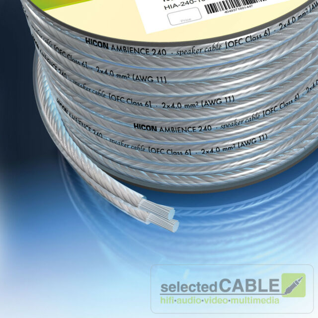 Hicon Ambience 2 X 4 0mm ² Speaker Cable OFC Silver Meterware Hia ...