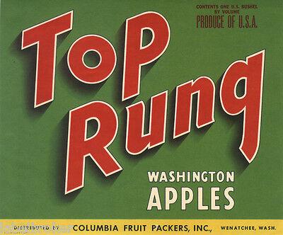 ORIGINAL 1950 APPLE CRATE LABEL WENATCHEE WASHINGTON VINTAGE TOP RUNG TYPOGRAPHY