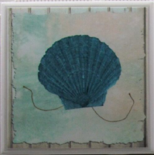 Handmade Natural Stone Ceramic Tile  Marble Drink Coaster Ocean 2 A Set of 4