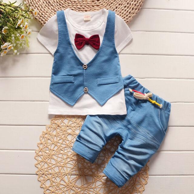 2pcs Toddler Baby Boys Outfits T-Shirt tops+Shorts Summer gentleman Clothes Sets