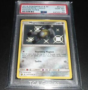 PSA-10-GEM-MINT-Magnemite-SV27-SV94-SM-Hidden-Fates-SHINY-HOLO-Pokemon-Card