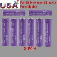 8X High Drain Rechargeable Battery 18650 35A 3.7v LI-MN 2500mAh Button Top VIP