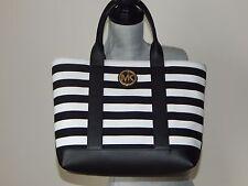 Item 2 Nwt 198 Michael Kors Fulton Canvas Striped Med Tote Shoulder Bag Black