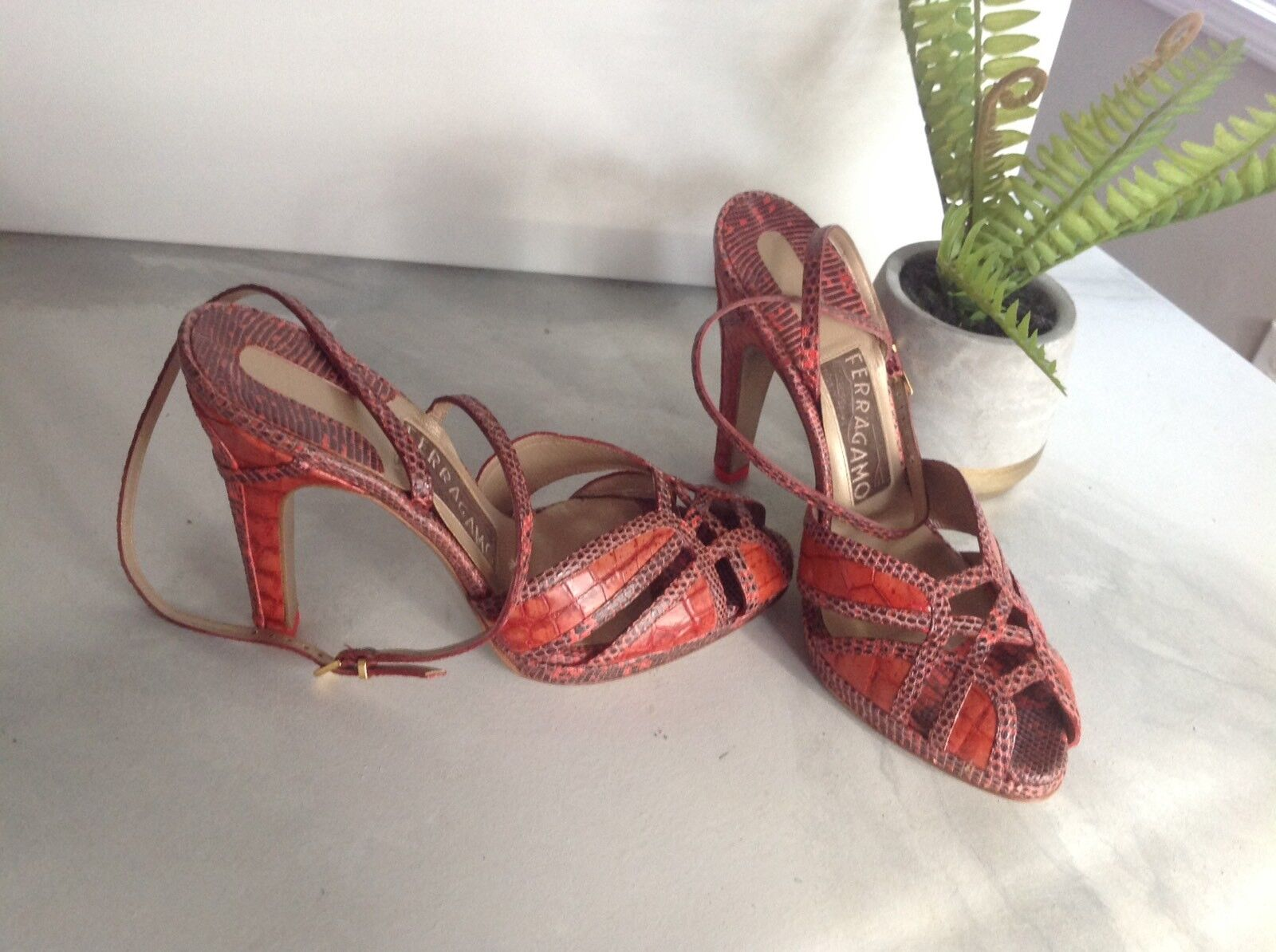 3000 New Salvatore Ferragamo Crocodile Orange Ankle Strap Heels 7