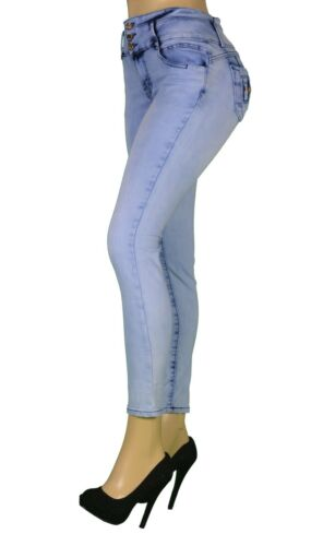 Stretch Push-Up colombian style Levanta Cola skinny jeans in Light Blue  LA-152